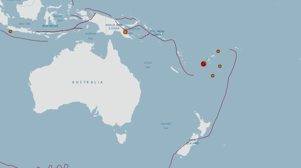 Magnitude 72 earthquake strikes near fiji ctv news the red dot on this map from the us geological survey shows the location of an earthquake near fiji gumiabroncs Images