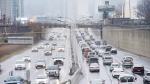 Vehicles makes there way into and out of downtown Toronto along the Gardiner Expressway in Toronto on Thursday, November 24, 2016. (Nathan Denette / THE CANADIAN PRESS)