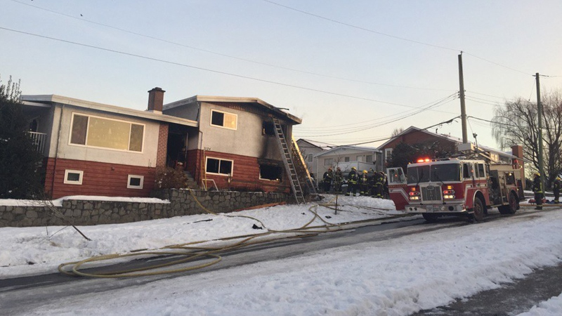 A fire-damaged home is seen from the street in this photo taken by CTV's Shannon Paterson on Thursday, Jan. 5, 2017.