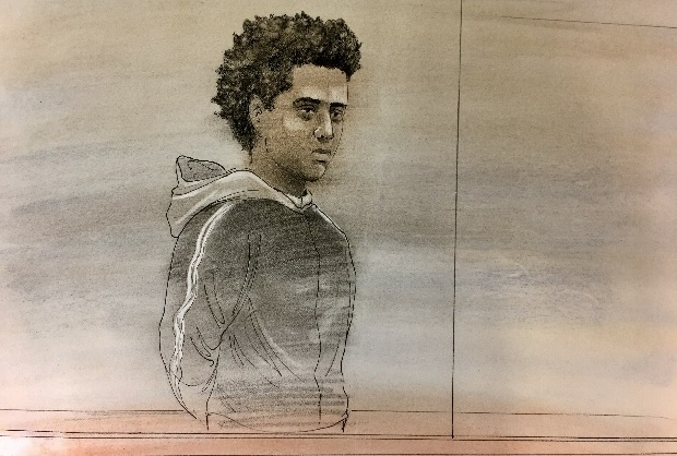 Mohamed Ali Nur appeared in court on Jan. 6. (Sketch by John Mantha)
