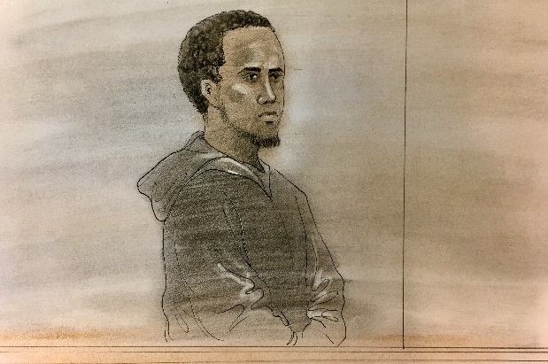 Lenneil Shaw appeared in court on Jan. 6. (Sketch by John Mantha)