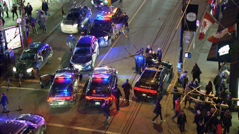 Police respond to an incident at Robson and Burrard streets in downtown Vancouver in this CTV News file image.