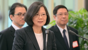 Taiwan's President Tsai Ing-wen delivers a speech before traveling to visit Central American allies including a U.S. transit at the Taoyuan International Airport in Taouyuan, Taiwan on Saturday, Jan. 7, 2017. (Central News Agency)