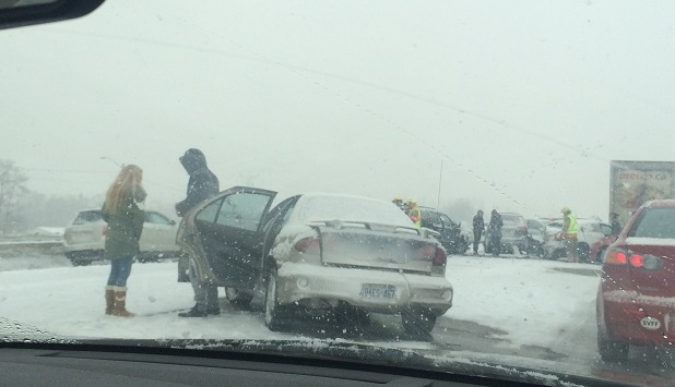 Several vehicles involved in a collision on Highway 401 near Bowmanville on Saturday afternoon are shown. (Submitted)