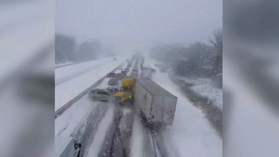 A transport truck can be seen losing control on Saturday, Jan. 7, 2017. (YouTube/aaronc)