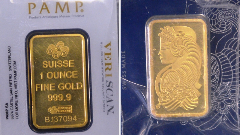 EPS released images of counterfeit gold bars. Supplied.