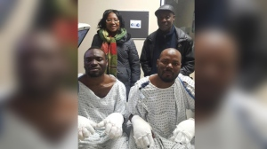 Two men from Ghana walked several hours to cross the U.S. border near Emerson Christmas Eve. They were picked up by a trucker and taken to hospital due to frostbite. (Source: Maggie Yeboah)
