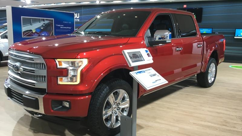 Ford trucks on display on the floor of the North American International Auto Show in Detroit on Monday, Jan. 9, 2017. (Melanie Borrelli / CTV Windsor)