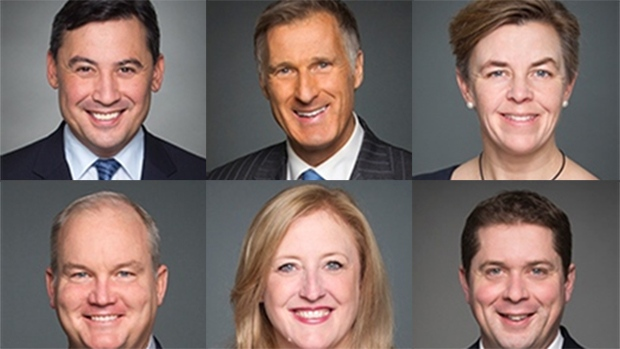 Conservative leadership candidates (clockwise from upper left) Michael Chong, Maxime Bernier, Kellie Leitch, Erin O'Toole, Lisa Raitt and Andrew Scheer. (Parliament of Canada)