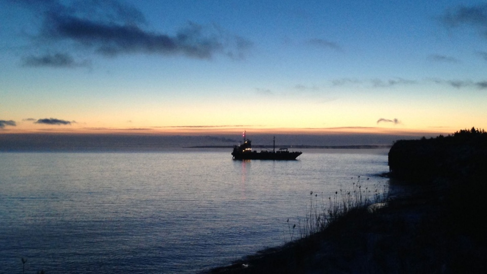 The Arca 1 ran aground just north of Sydney Mines on Sunday after losing engine power, and its six-member crew was rescued later that day.