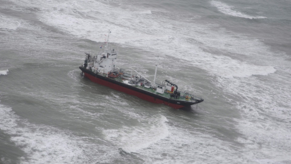The Acra 1 after it ran aground off the coast of Nova Scotia, on Jan.8, 2017. (Depratment of Fisheries and Oceans / THE CANADIAN PRESS)