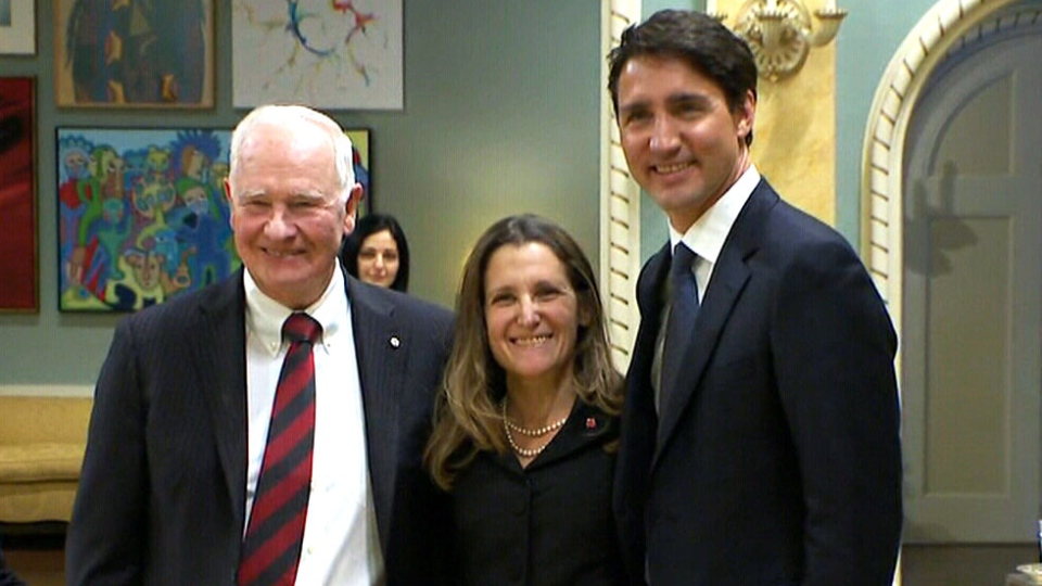 Gov. General David Johnston, Prime Minister Justin Trudeau and Minister of Foreign Affairs Chrystia Freeland at Rideau Hall in Ottawa on Jan. 10, 2017.
