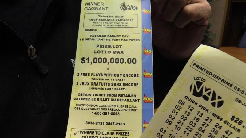 $1M Lotto Max winning ticket claimed by CKNX employees on Jan. 10, 2017. (Scott Miller/CTV)