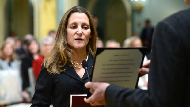 Chrystia Freeland is sworn in as Minister of Foreign Affairs during a ceremony at Rideau Hall in Ottawa on Tuesday, Jan 10, 2017. THE CANADIAN PRESS/Sean Kilpatrick
