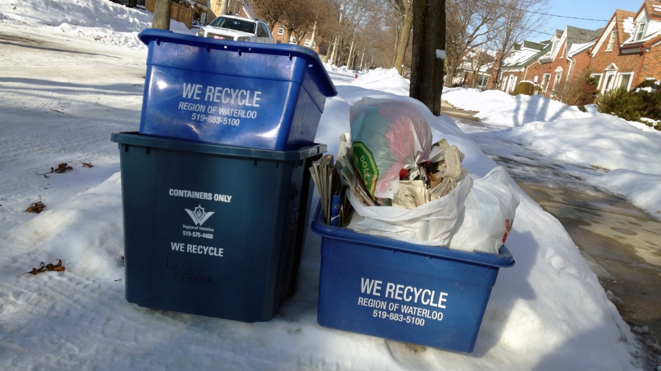 Recycling bins sit at the roadside, waiting to be picked up, on Monday, Jan. 2, 2017. (Matt Harris / CTV Kitchener)