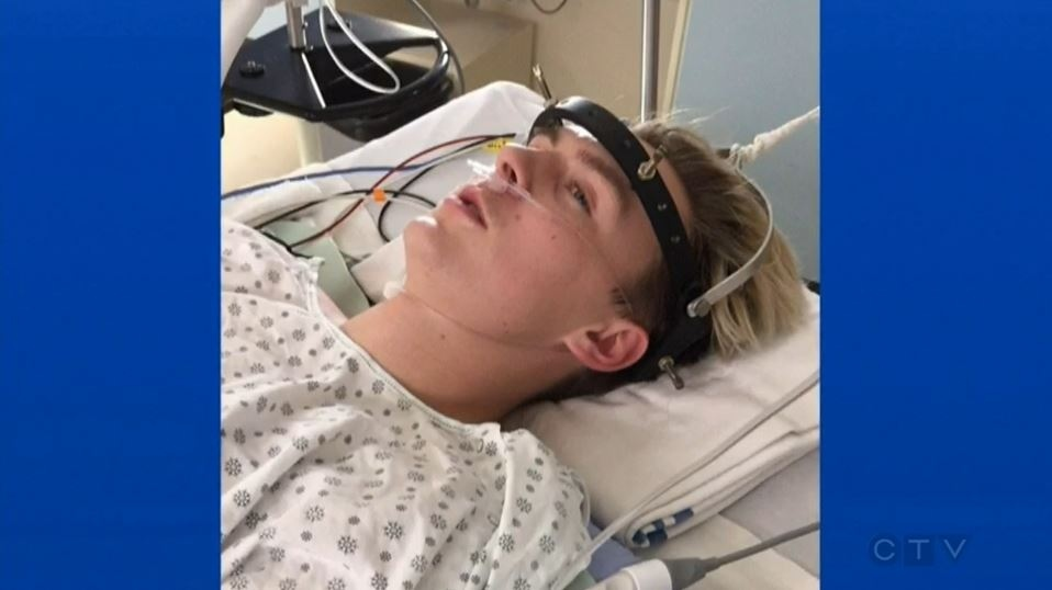 Landon Smith injured his spine at a trampoline park after jumping into a foam pit. (CTV Edmonton)