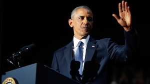 U.S. President Barack Obama waves as he speaks during his farewell address at McCormick Place in Chicago, Tuesday, Jan. 10, 2017. (AP / Pablo Martinez Monsivais)