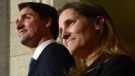 Prime Minister Justin Trudeau talks alongside Chrystia Freeland at a press conference on Parliament Hill in Ottawa on Tuesday, Jan 10, 2017, after she was sworn in as Minister of Foreign Affairs during a cabinet shuffle at Rideau Hall. (Sean Kilpatrick / THE CANADIAN PRESS)
