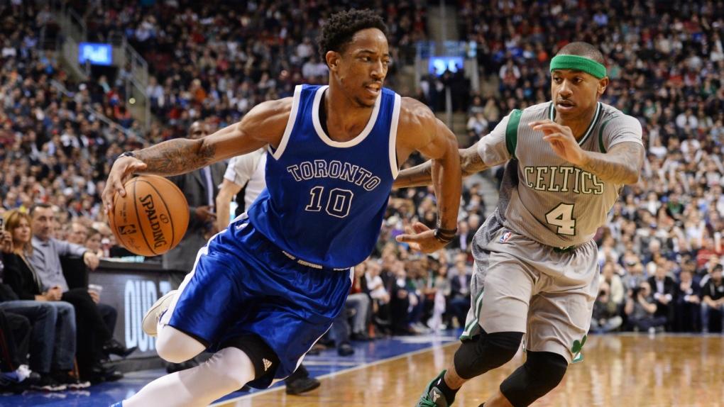 89baca8f377 DeRozan scores 41 points as Raptors beat Celtics 114-106. DeMar DeRozan  dominates in ...