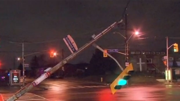 High winds knocked down hydro wires and trees across the GTA this morning.