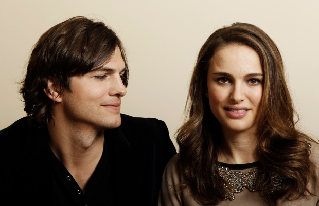 Ashton Kutcher, left, and actress Natalie Portman