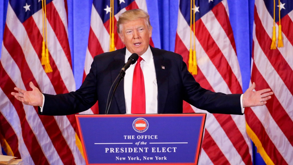 U.S. President-elect Donald Trump speaks during a news conference, Wednesday, Jan. 11, 2017, in New York. The news conference was his first as President-elect. (AP Photo/Seth Wenig)
