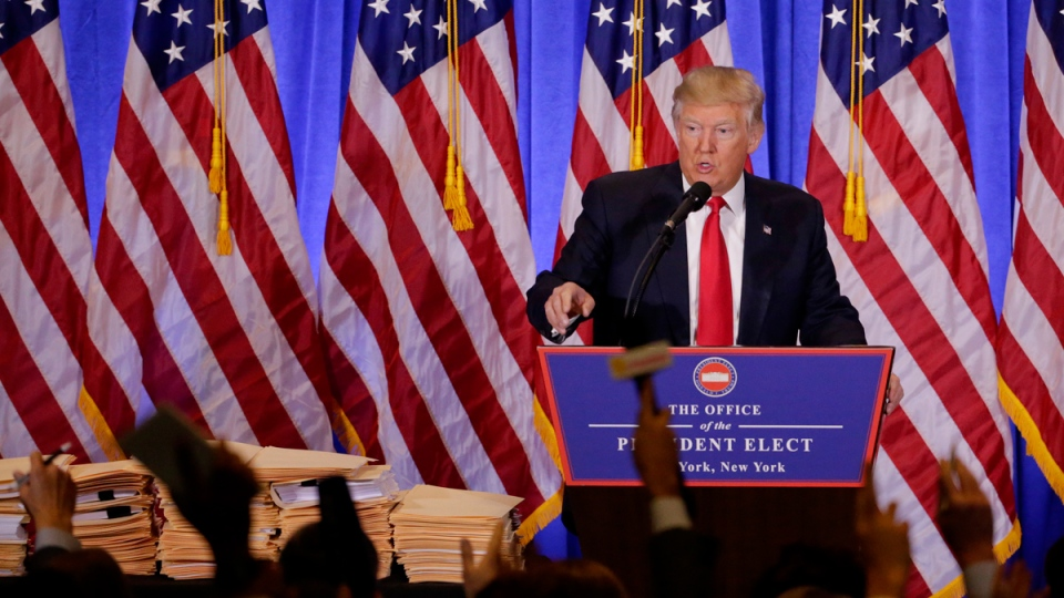 U.S. president-elect Donald Trump takes questions from members of the media during a news conference in New York, on Jan. 11, 2017. (Seth Wenig / AP)