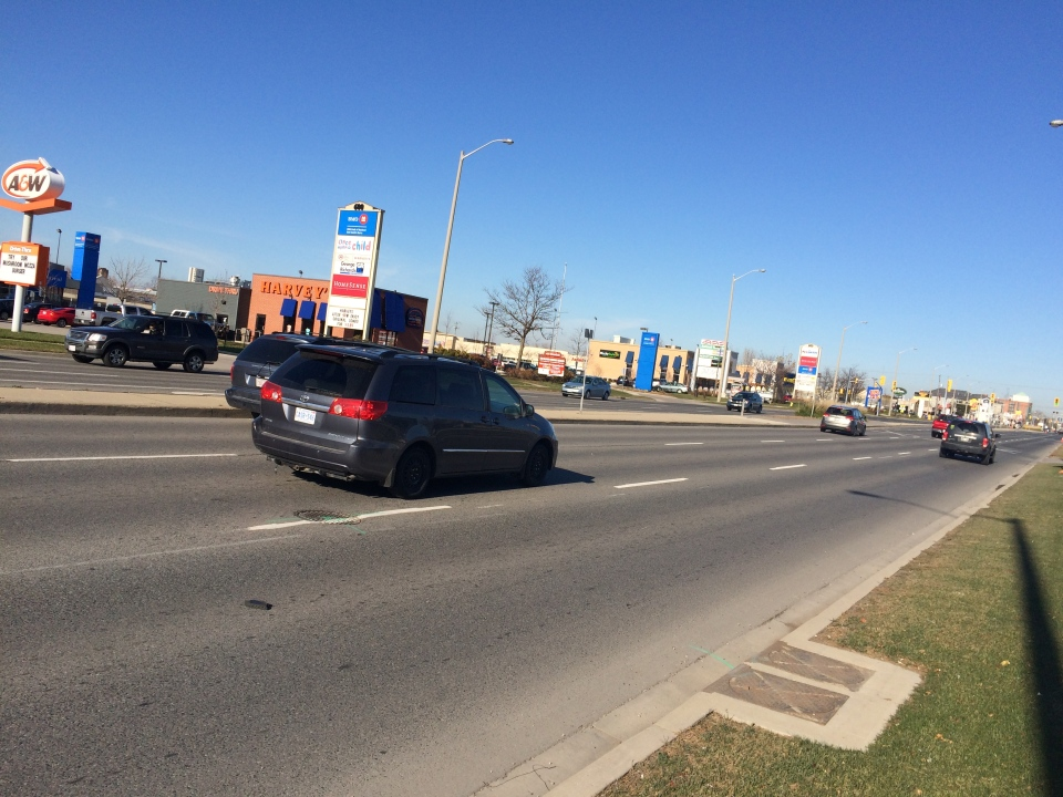 The preliminary preferred route for light rail transit in Cambridge includes a large portion of the Hespeler Road strip. (Dan Lauckner / CTV Kitchener)