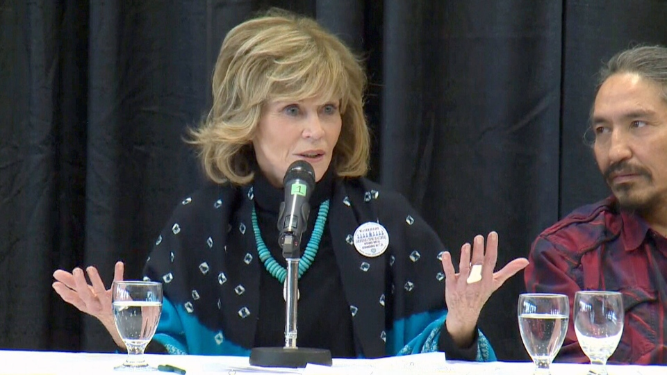 Jane Fonda is shown speaking at a Greenpeace Canada event at the University of Alberta in Edmonton on Jan. 11, 2017.