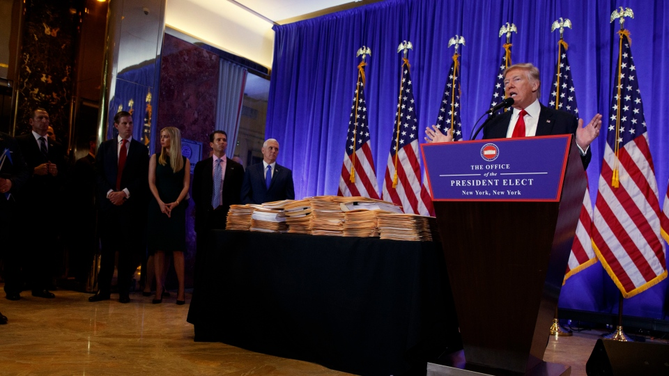 President-elect Donald Trump speaks during a news conference in the lobby of Trump Tower in New York, Wednesday, Jan. 11, 2017. (Evan Vucci/AP)