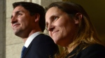 Prime Minister Justin Trudeau talks alongside Chrystia Freeland at a press conference on Parliament Hill in Ottawa on Tuesday, Jan 10, 2017, after she was sworn in as Minister of Foreign Affairs during a cabinet shuffle at Rideau Hall. THE CANADIAN PRESS/Sean Kilpatrick
