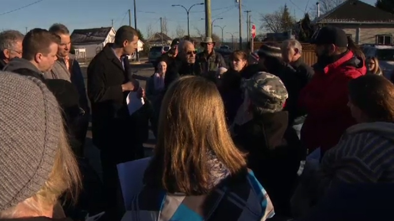 Residents in Ladysmith gathered at the city's public works yard Wednesday to protest a lingering smell emanating from a biosolids plant. Wed., Jan. 11, 2017. (CTV Vancouver Island)