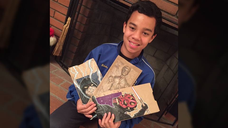Nicholas Cabalo's father creates amazing artwork on his son's lunch bags to help him make new friends at school.