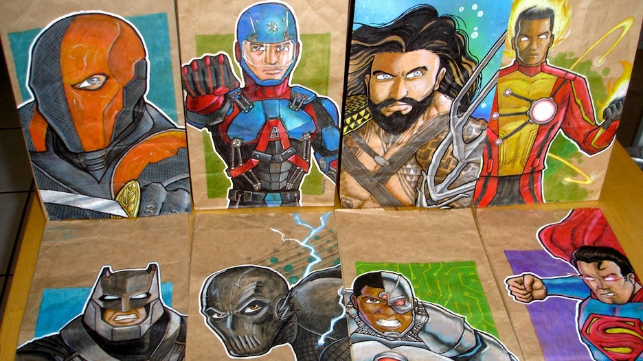 Dominick Cabalo's favourite characters to draw are superheroes from movies he and his son share an interest in.