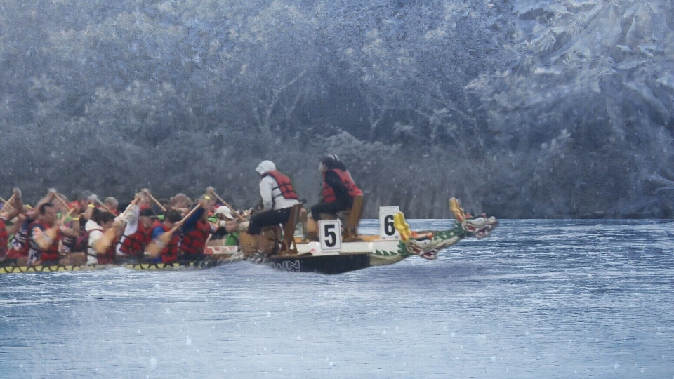 Dragon boat paddlers will take to frozen canal.