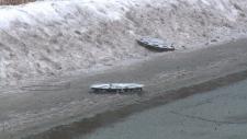 Hubcaps strewn along Renaud Road