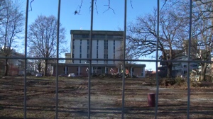 Victoria's former tent city, outside of a downtown courthouse, will undergo remediation work before a playground is built on the spot formerly occupied by dozens of homeless people. Jan. 12, 2017. (CTV Vancouver Island)