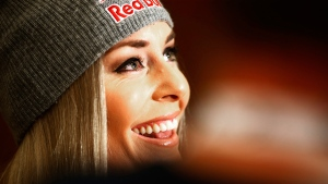 Lindsey Vonn smiles during a news conference in Altenmarkt-Zauchensee, Austria, on Jan. 12, 2017. (Giovanni Auletta / AP)
