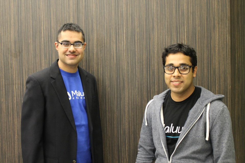 Maluuba founders Kaheer Suleman and Sam Pasupalak are seen in this photo provided by the company.