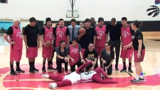La Loche students play basketball with Trudeau in