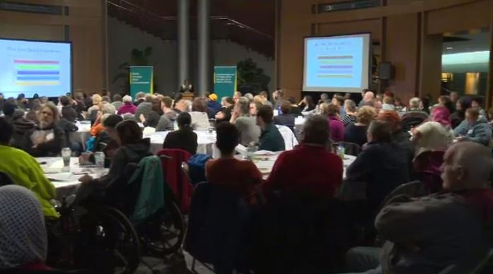 Residents and politicians meet at Kitchener City Hall on Jan. 13, 2017 to discuss the possibility of a basic income pilot project.