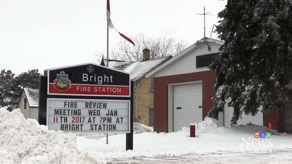 The fire station in Bright, Ont., is pictured on Tuesday, Jan. 10, 2016.