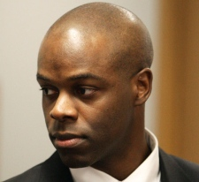 RCMP Const. Kwesi Millington arrives at the Braidwood inquiry into the Taser-related death of Polish immigrant Robert Dziekanski in Vancouver, B.C., on Monday March 2, 2009. (Darryl Dyck / THE CANADIAN PRESS)