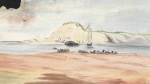 """This image shows the painting titled """"Stranded Whale, Tracadie Harbour, Prince Edward Island, August 1857,"""" by Caroline Louisa Daly, 1857. (Library and Archives Canada)"""