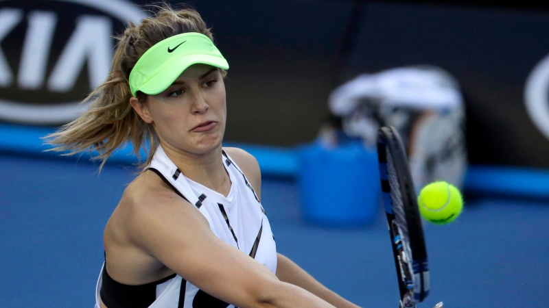 Canada's Eugenie Bouchard makes a forehand return during a practice session ahead of the Australian Open tennis championships in Melbourne, Australia, Sunday, Jan. 15, 2017. (AP Photo/Aaron Favila)