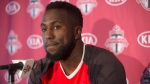 Toronto FC's Jozy Altidore attends a season wrapping news conference in Toronto on Tuesday Dec. 13, 2016. (THE CANADIAN PRESS/Chris Young)