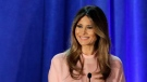 In this Nov. 3, 2016 file photo, Melania Trump, wife of then-Republican presidential candidate Donald Trump, speaks in Berwyn, Pa. (AP Photo/Patrick Semansky, File)