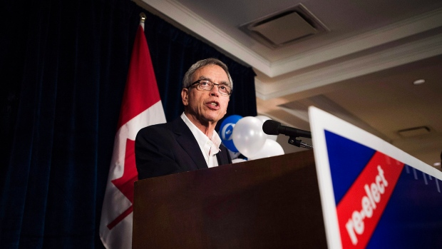 Former finance Minister Joe Oliver speaks at his election party in the riding of Eglinton-Lawrence on Canada's election day in Toronto on Monday, October 19, 2015. (Aaron Vincent Elkaim/The Canadian Press