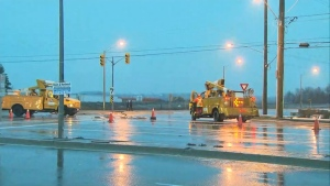 Collisions and road closures were reported this morning due to slippery road conditions.