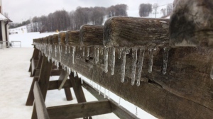 Ice builds up on a table at Mount St. Louis Moonstone in Coldwater, Ont. on Tuesday, Jan. 17, 2017. (Steve Miller/ CTV Barrie)